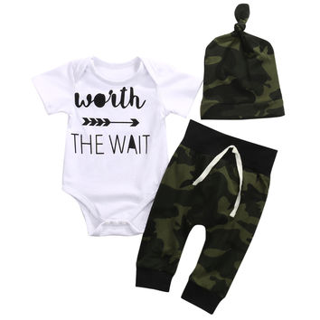 3PCS Newborn baby Boys clothing set  Romper +Camouflage Pants+ Hat infant clothes 3pcs suit baby girl clothing sets