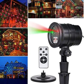 Remote Christmas Laser Lights Projector Aluminum Outdoor IP65 Waterproof Laser Lamp Red and Green Star Laser Show for Xmas, Party, Holiday, Wedding, Landscape, and Garden Decoration (Black)