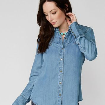 Lightweight Western Style Tencel Denim Shirt
