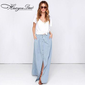 DCCKL3Z HAOYOUDUO 2017 Summer All Match Cotton Casual Single Breasted Buttons Long Washed Denim Skirt High Waist Maxi Skirts for Women
