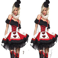 Queen of Heart Poker Cosplay Anime Cosplay Apparel Holloween Costume [9220286852]