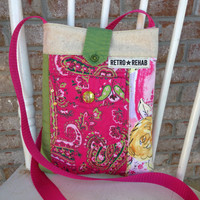 Ecofriendly SUNNY Patchwork Hipster, Quilted Bag, Vegan Purse  -- Upcycled Recycled Repurposed