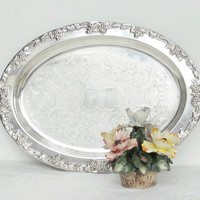 Ornate Gorham Silverplate Oval Serving Tray, Grapevine Design, Wedding, Shabby Chic, Cottage Style, French Country