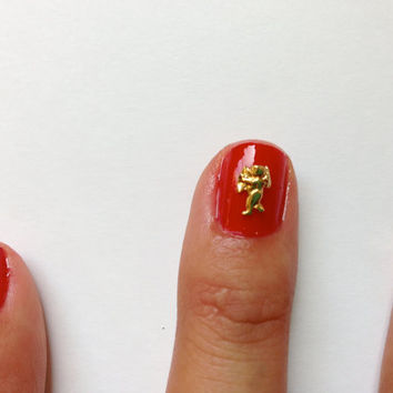 Cupid nail charm  14k Gold plated by HEXNAILJEWELRY on Etsy