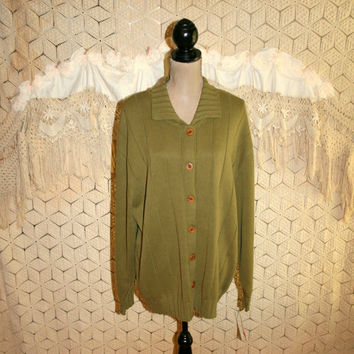Plus Size Cardigan Sweater 3X Olive Green Cardigan Cotton Cardigan Womens Cardigan Womens Sweaters Size 22/24 Liz Claiborne Womens Clothing