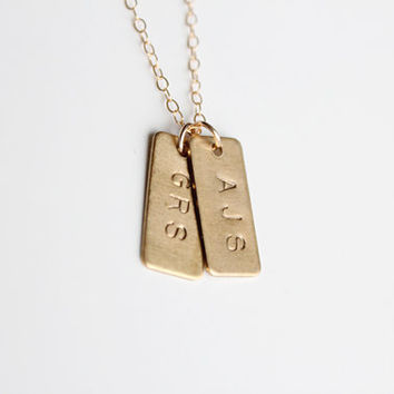 Hand Stamped Necklace - Tiny Initial Tags - Rectangle - As Seen In Flutter Mag