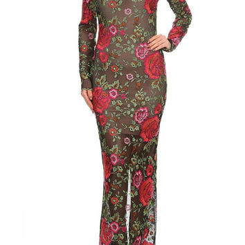 Textured Flowers, Long Sleeve Maxi Dress D6013-8091