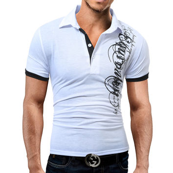 Hot Sale New 2017 Fashion Brand Male Polo Shirt Printing Short-Sleeve Slim Fit Shirt Men Polo Shirts Casual Shirts