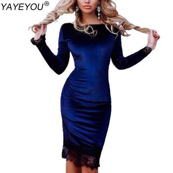YAYEYOU Sexy Velvet Dress 2017 Autumn Spring Women Long Sleeve Lace Patchwork Party Dresses Elegant Bodycon Office Dress
