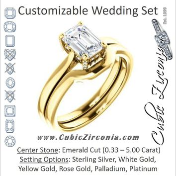 CZ Wedding Set, featuring The Aimy Jo engagement ring (Customizable Cathedral-Raised Emerald Cut with Prong Accents)