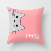 Meow Throw Pillow by August Decorous