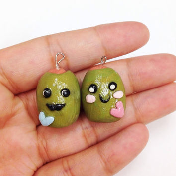 Valentine's gift, His and Hers Charms, Polymer clay olives, Olive you so much, funny Valentines gift for boyfriend, husband, wife