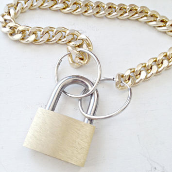 Gold Chain Padlock Necklace, Gold and Silver Two Tone Modern Punk Jewelry