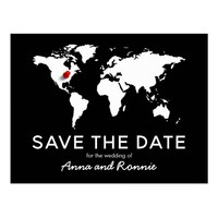 World Map Wedding Destination Save the Date Postcard