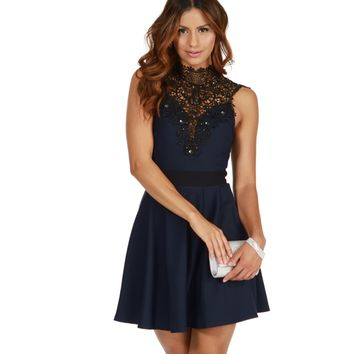 Navy Lovely Skater Dress