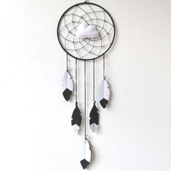 Cloud Dream Catcher, black white nursery dreamcatcher, scandinavian nursery decor, Dream Catcher Mobile, Baby dream catcher