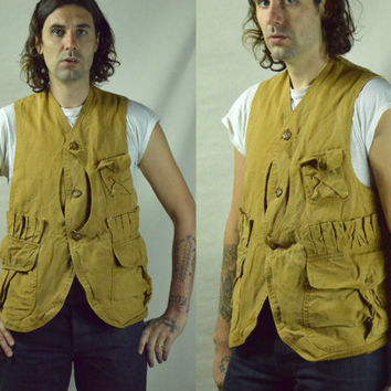 Vintage 1930s Half Moon Red Head Hunting Fishing Canvas Vest Workwear Sleeveless Jacket
