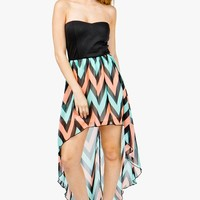 Multi Zig Zag Hi Lo Bustier Dress