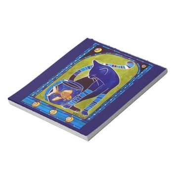 Blue Cat With Goldfish Whimsical Cat Art Notepad