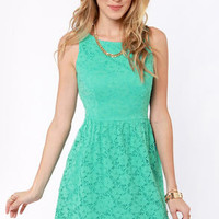 Birthday Party Mint Blue Lace Dress