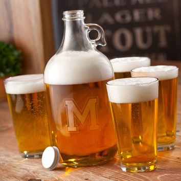 Varsity letter Engraved Beer Growler set with 4 pint glasses , Groomsman gift, birthday, wedding, mens gifts, Free Engraving - (1095)