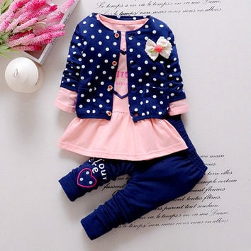Korean wave point clothing set baby girls cute cotton clothes