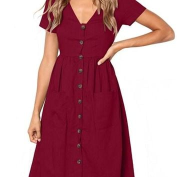 Red Stylish Button Front Midi Dresses with Pockets