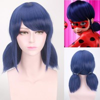 IHYAMS Wig Miraculous Ladybug Wigs Peluca Marinette Girls Cosplay Double Ponytail Braids Short Straight Blue Hair+Wig Cap