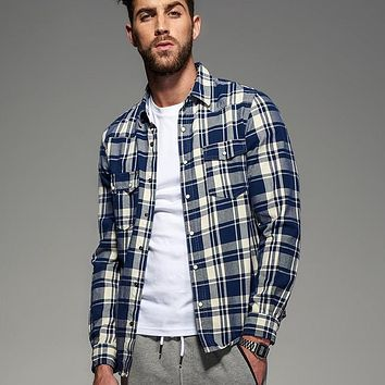 Autumn Long Sleeve Blue Plaid Flannel Shirt Men Blouse Casual Cotton Check Shirt Male Home