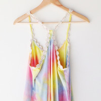 Lucca Couture Multi Color Swing Crop Top - pastel rainbow tie-dye tank top with daisy straps at Prism Boutique