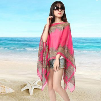 Summer 2016 Women Floral Print Blouse 3/4 Sleeve Casual Beach Boho Cover Up Long Blusas Tops New
