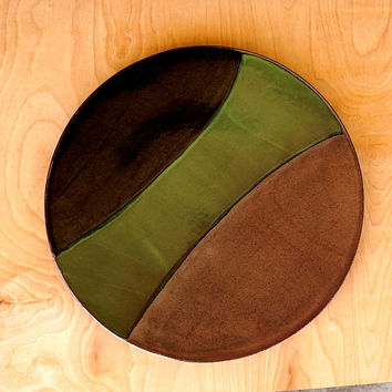 Ceramic platter, large platter, serving platter, handmade platter, red green black, stoneware