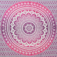 Pink Multi Floral Ombre Mandala Wall Tapestry, Medallion Bedding on RoyalFurnish.com