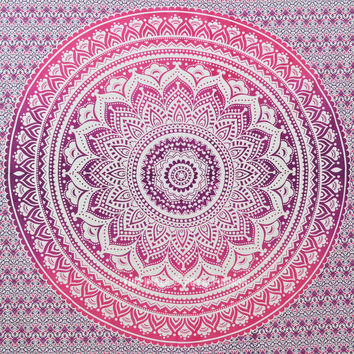 Pink Multi Floral Ombre Mandala Wall Tapestry Medallion Bedding On Royalfurnish on 2 bedroom bathroom