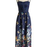 ModCloth Long Spaghetti Straps Maxi Butterflies in the Sky Dress
