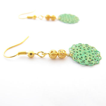 Delicate Green Painted Filigree Earrings