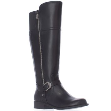G GUESS Hailee Wide Calf Riding Boots, Black, 5.5 US