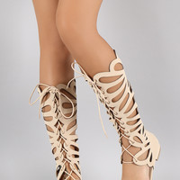 Cutout Lace Up Open Toe Gladiator Flat Sandal