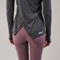 Gymshark Cross Back Long Sleeve Top - Charcoal Marl