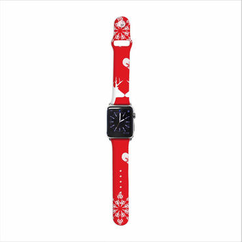 "Suzanne Carter ""Christmas Deer 2"" Holiday Pattern Apple Watch Strap"