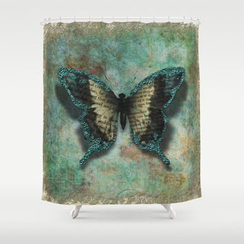 "Shower Curtain - 'Turquoise Wings' - 71"" by 74"" Home Decor, Bathroom, Bath, Dorm Decor, Girl Decor, Bohemian, Boho, Hippie"