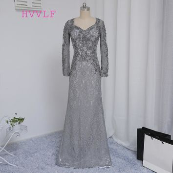 2018 Mother Of The Bride Dresses Mermaid V-neck Long Sleeves Silver Lace Beaded Mother Dresses Evening Dresses For Weddings