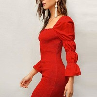 Puff Sleeve Red Dress