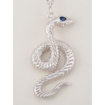 Kundalini Serpent Necklace-Sterling Silver (Sapphire)