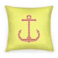 Chevron Anchor Pillow (Pink and Yellow)