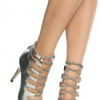 Silver Print Faux Leather Open Toe Lace Up Heels @ Cicihot Heel Shoes online store sales:Stiletto Heel Shoes,High Heel Pumps,Womens High Heel Shoes,Prom Shoes,Summer Shoes,Spring Shoes,Spool Heel,Womens Dress Shoes