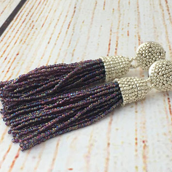 Beaded tassel earrings, rainbow purple, fringe earrings,  statement seed beads earrings, tassle earrings, bridesmaids gifts, wedding tassel