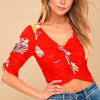 Love to Love Coral Red Floral Print Crop Top
