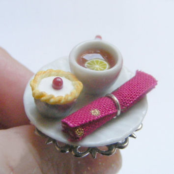 Food Jewelry Tea and Bakewell Tart Ting, Tea and cake, Food Ring, Miniature Food Jewelry, Mini Food Jewellery, Polymer clay, Dollhouse food