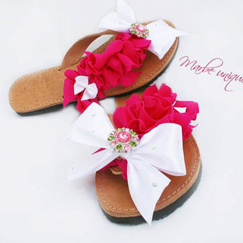Elegant! Sleek  Greek leather sandal with white bow and pink lycra details. Ideal for Preppy appearances!